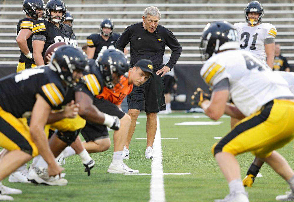 Iowa Hawkeyes head coach Kirk Ferentz looks on during Fall Camp Practice No. 12 at Kinnick Stadium in Iowa City on Thursday, Aug 15, 2019. (Stephen Mally/hawkeyesports.com)