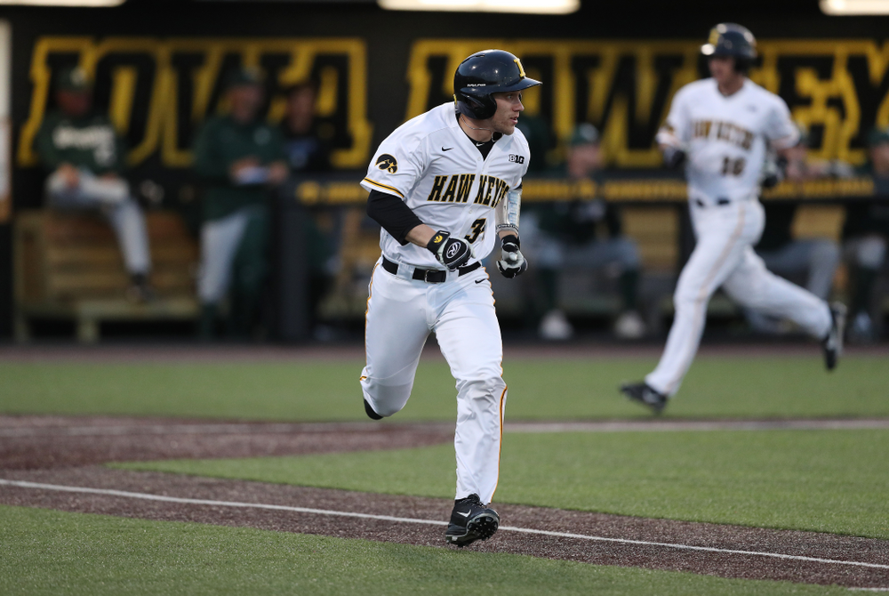 Iowa Hawkeyes catcher Austin Martin (34) against the Michigan State Spartans Friday, May 10, 2019 at Duane Banks Field. (Brian Ray/hawkeyesports.com)