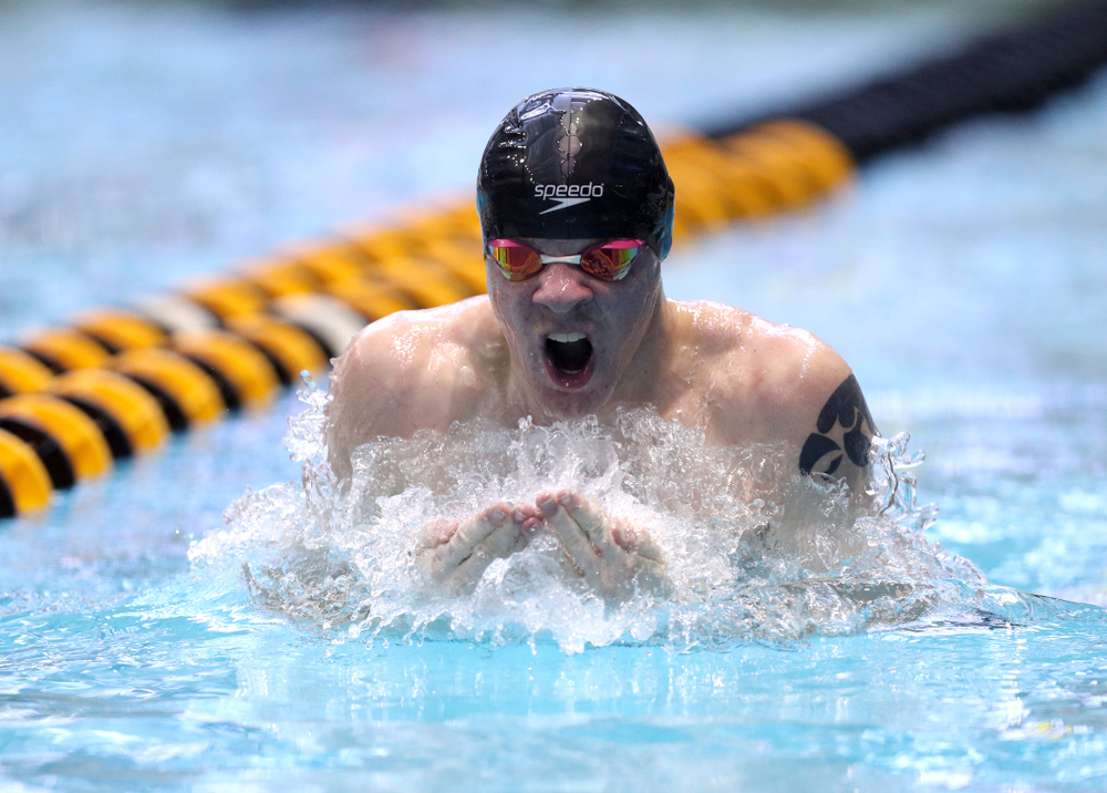 Iowa's Tanner Nelson competes in the 100-yard breaststroke on the third day at the 2019 Big Ten Swimming and Diving Championships Thursday, February 28, 2019 at the Campus Wellness and Recreation Center. (Brian Ray/hawkeyesports.com)