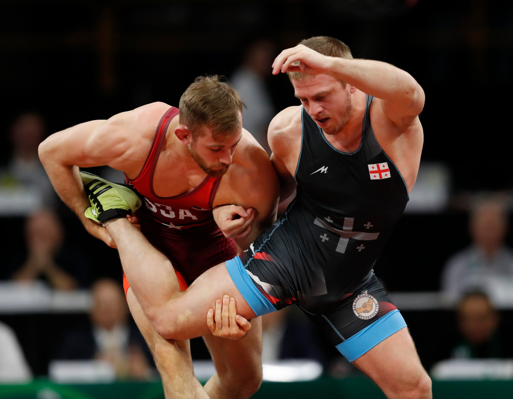 David Taylor during session three of the United World Wrestling Freestyle World Cup Sunday, April 8, 2018 at Caver-Hawkeye Arena. (Brian Ray/hawkeyesports.com)