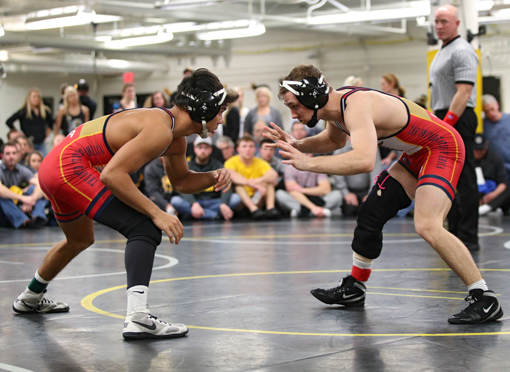 Iowa's Aaron Cashman (from left) and Spencer Lee during their preseason match at the Dan Gable Wrestling Complex at Carver-Hawkeye Arena in Iowa City on Thursday, Nov 7, 2019. (Stephen Mally/hawkeyesports.com)
