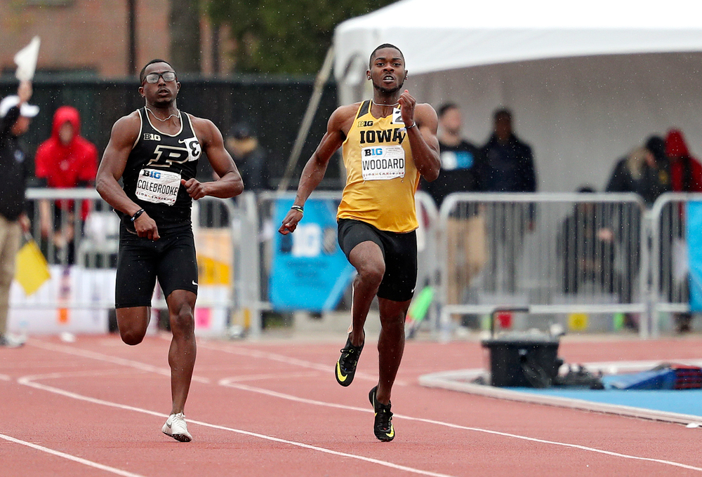 Iowa's Antonio Woodard runs the men's 200 meter dash event on the third day of the Big Ten Outdoor Track and Field Championships at Francis X. Cretzmeyer Track in Iowa City on Sunday, May. 12, 2019. (Stephen Mally/hawkeyesports.com)