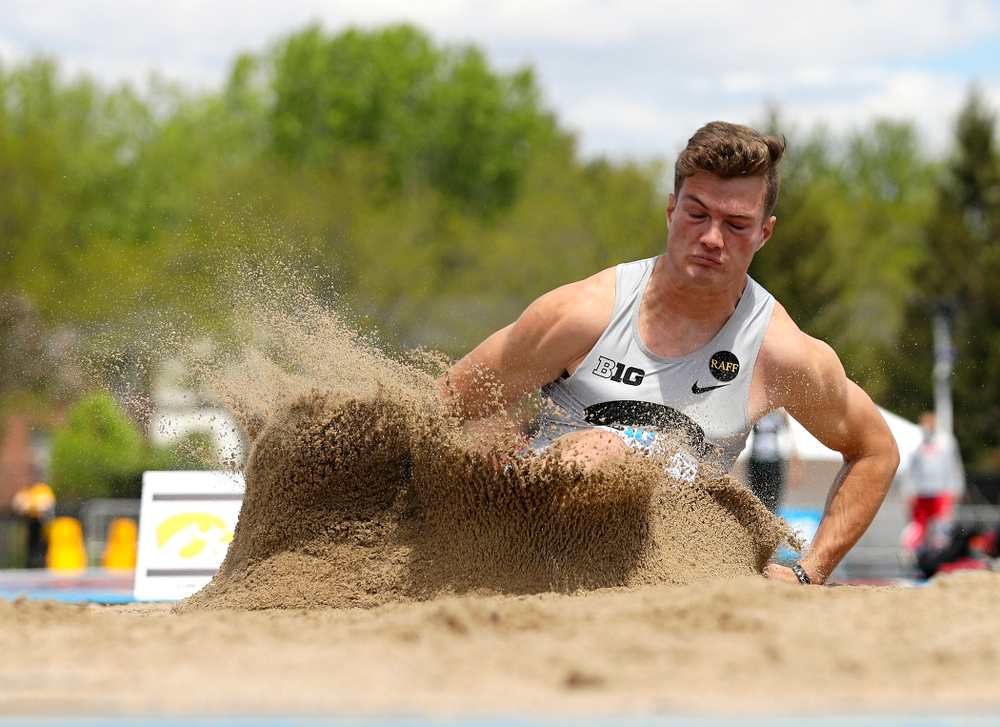 Iowa's Peyton Haack jumps during the men's long jump in the decathlon event on the first day of the Big Ten Outdoor Track and Field Championships at Francis X. Cretzmeyer Track in Iowa City on Friday, May. 10, 2019. (Stephen Mally/hawkeyesports.com)