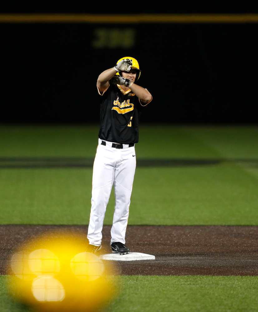 Iowa Hawkeyes infielder Matt Hoeg (3) against Milwaukee Wednesday, April 25, 2018 at Duane Banks Field. (Brian Ray/hawkeyesports.com)