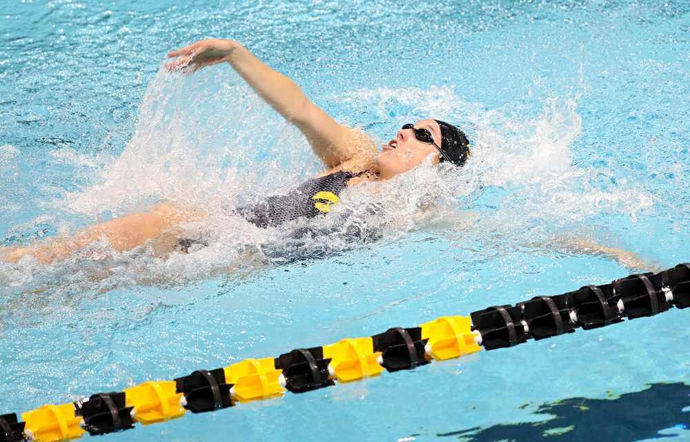 Iowa's Samantha Sauer swims the women's 50 yard backstroke event during their meet at the Campus Recreation and Wellness Center in Iowa City on Friday, February 7, 2020. (Stephen Mally/hawkeyesports.com)
