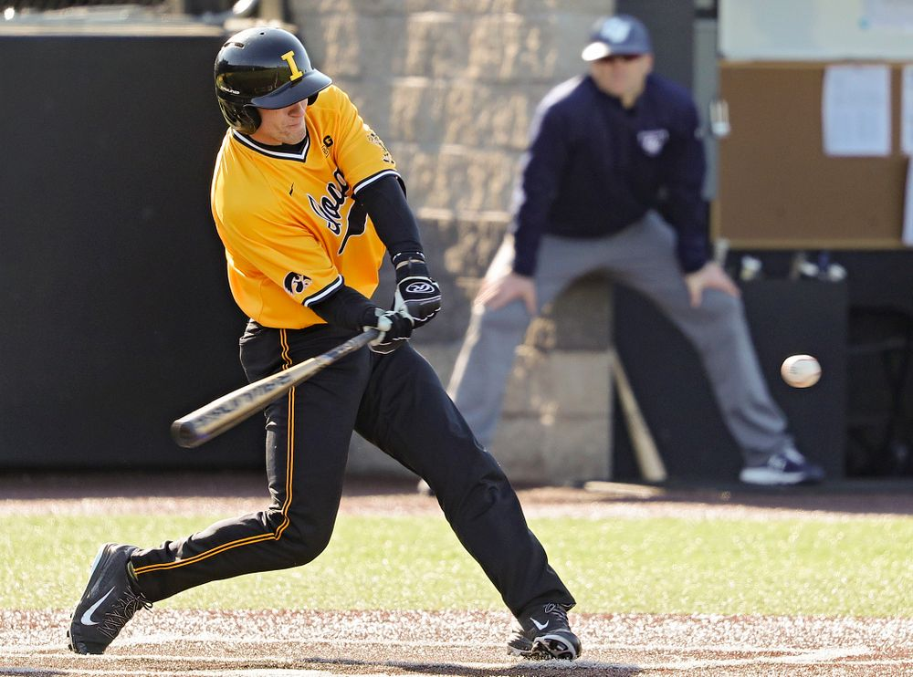 Iowa Hawkeyes designated hitter Austin Martin (34) bats during the second inning of their game at Duane Banks Field in Iowa City on Tuesday, Apr. 2, 2019. (Stephen Mally/hawkeyesports.com)