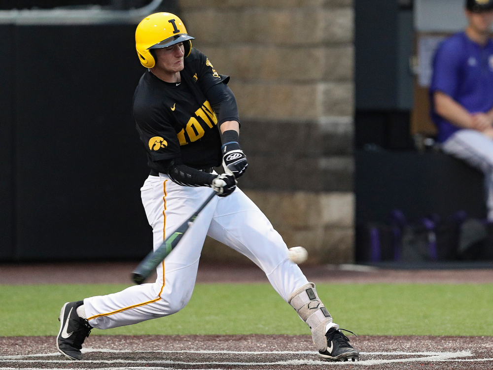 Iowa Hawkeyes second baseman Brendan Sher (2) drives a pitch for a hit during the fourth inning of their game against Western Illinois at Duane Banks Field in Iowa City on Wednesday, May. 1, 2019. (Stephen Mally/hawkeyesports.com)
