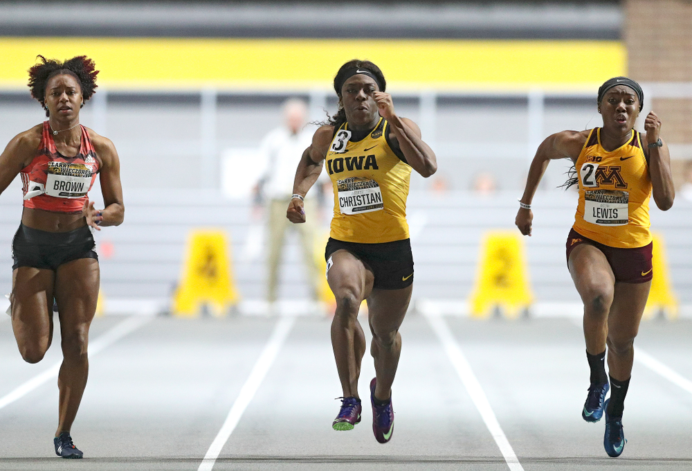Iowa's Antonise Christian runs the women's 60 meter dash premier event during the Larry Wieczorek Invitational at the Recreation Building in Iowa City on Saturday, January 18, 2020. (Stephen Mally/hawkeyesports.com)