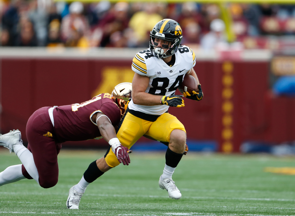 Iowa Hawkeyes wide receiver Nick Easley (84) against the Minnesota Golden Gophers Saturday, October 6, 2018 at TCF Bank Stadium. (Brian Ray/hawkeyesports.com)
