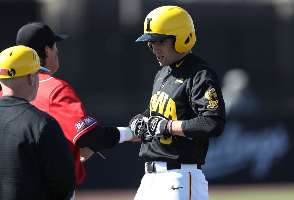 Iowa Hawkeyes outfielder Ben Norman (9) against California State Northridge Sunday, March 17, 2019 at Duane Banks Field. (Brian Ray/hawkeyesports.com)
