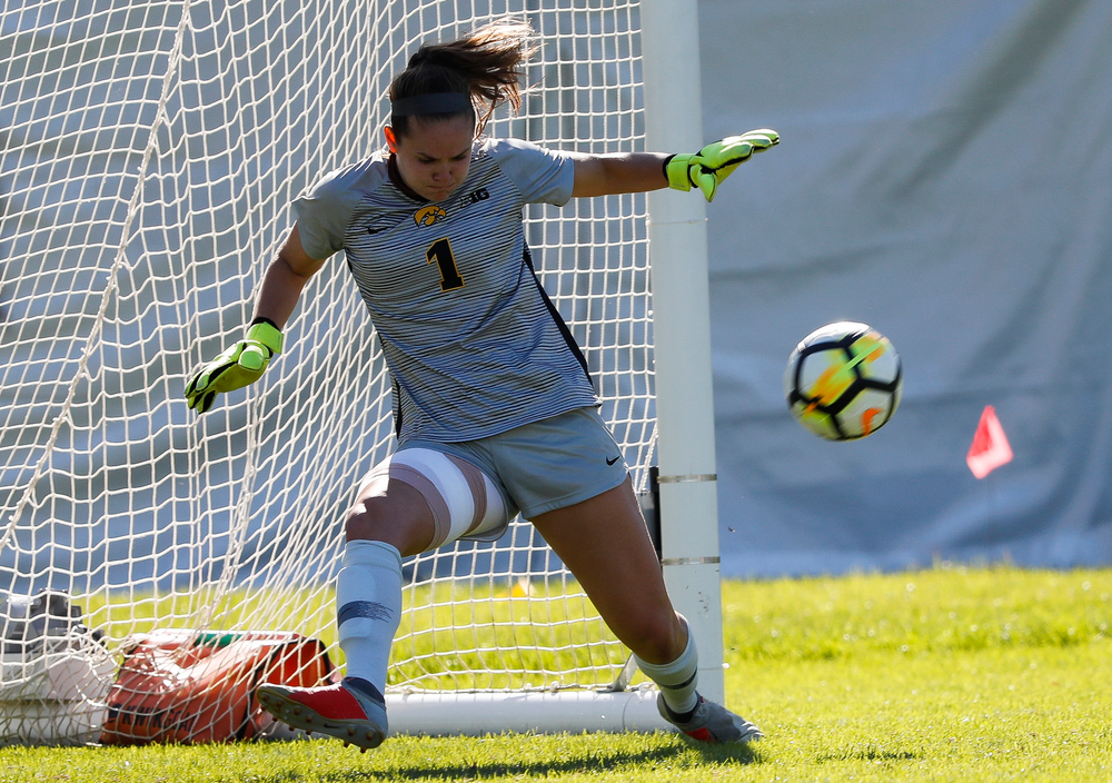 Iowa Hawkeyes goalkeeper Claire Graves (1) makes a save during a game against Indiana at the Iowa Soccer Complex on September 23, 2018. (Tork Mason/hawkeyesports.com)