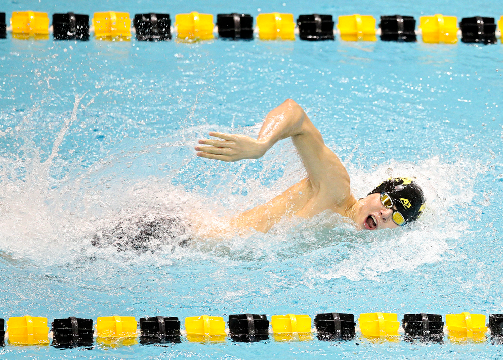 Iowa's Andrew Fierke swims the men's 100 yard freestyle event during their meet at the Campus Recreation and Wellness Center in Iowa City on Friday, February 7, 2020. (Stephen Mally/hawkeyesports.com)