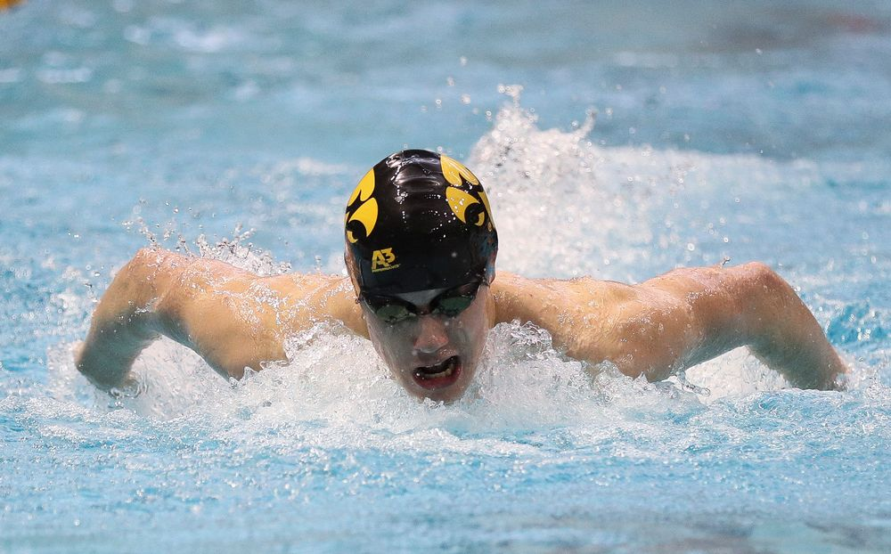 Iowa's Dolan Craine competes in the 200-yard butterfly during the third day of the Hawkeye Invitational at the Campus Recreation and Wellness Center on November 17, 2018. (Tork Mason/hawkeyesports.com)