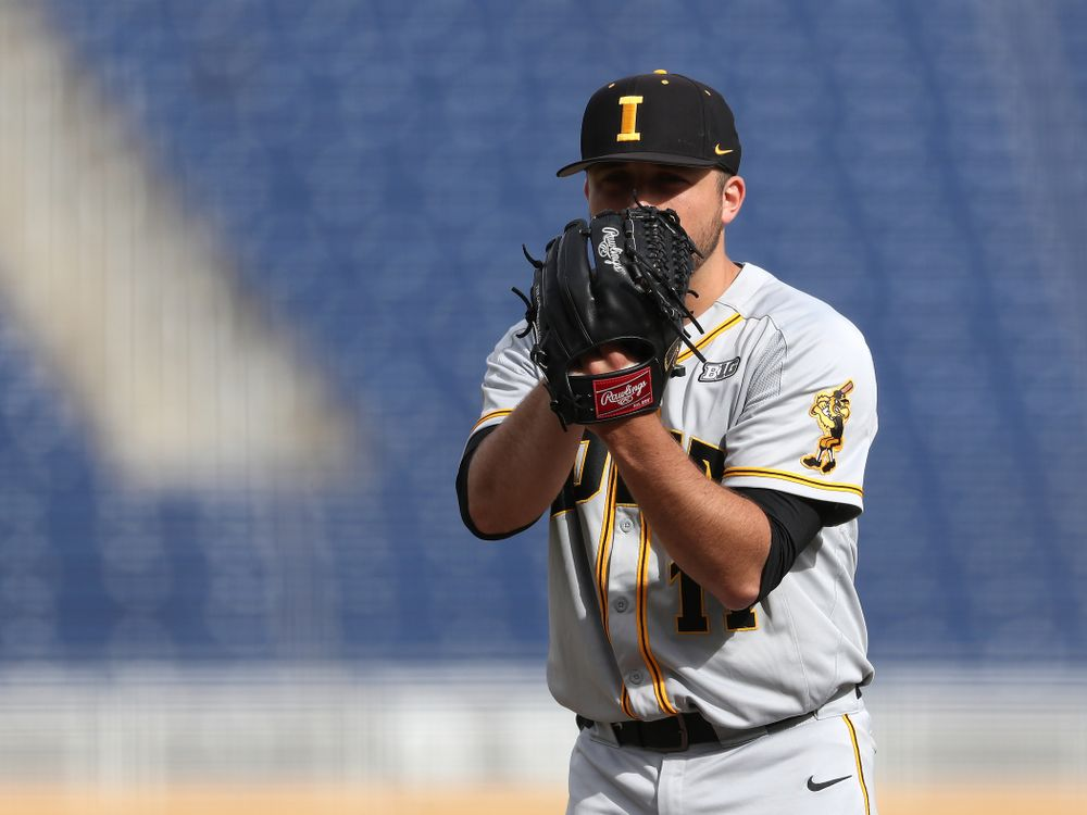 Iowa Hawkeyes Cole McDonald (11) against the Indiana Hoosiers in the first round of the Big Ten Baseball Tournament Wednesday, May 22, 2019 at TD Ameritrade Park in Omaha, Neb. (Brian Ray/hawkeyesports.com)