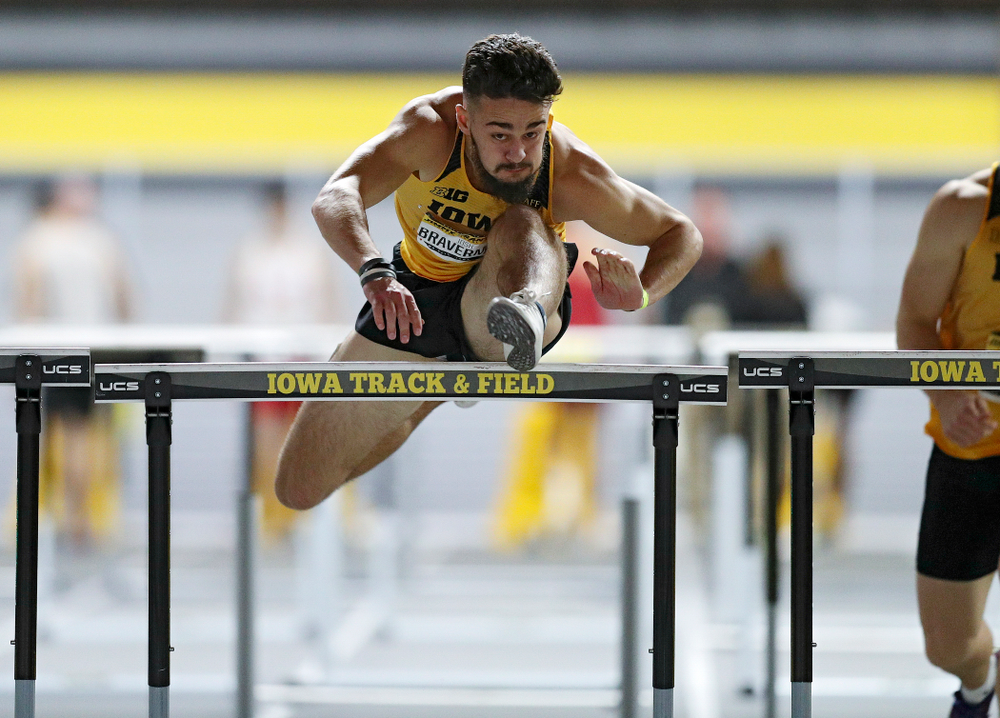Iowa's Josh Braverman competes in the men's 60 meter hurdles prelims event during the Jimmy Grant Invitational at the Recreation Building in Iowa City on Saturday, December 14, 2019. (Stephen Mally/hawkeyesports.com)