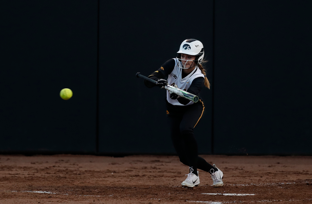 Iowa Hawkeyes infielder Aralee Bogar (2) against Western Illinois Tuesday, April 17, 2018 at Bob Pearl Field. (Brian Ray/hawkeyesports.com)