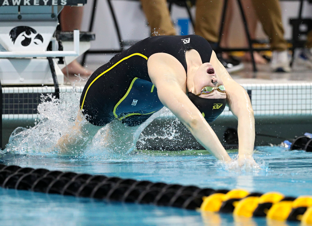 Iowa's Georgia Clark swims a 100 yard backstroke time trial during the 2020 Big Ten Women's Swimming and Diving Championships at the Campus Recreation and Wellness Center in Iowa City on Wednesday, February 19, 2020. (Stephen Mally/hawkeyesports.com)