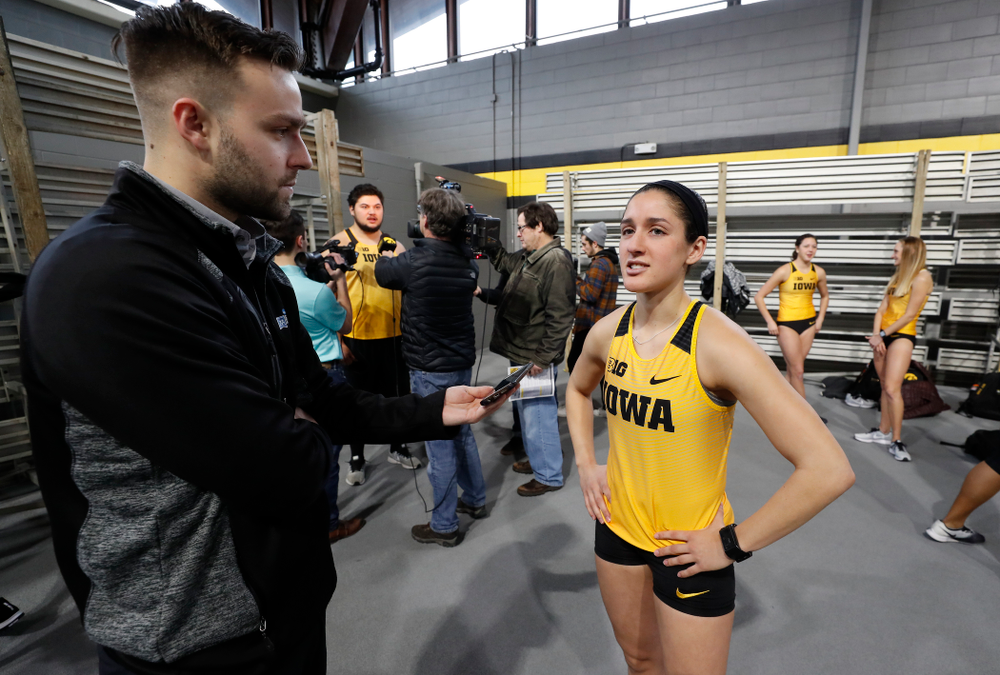 Tia Saunders during the team's media day Wednesday, January 10, 2018 at the indoor track in the Recreation Building. (Brian Ray/hawkeyesports.com)