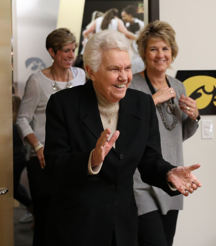 Former University of Iowa Director of Intercollegiate Athletics for Women Dr. Christine Grant addresses the team following their game against the Robert Morris Colonials Sunday, December 2, 2018 at Carver-Hawkeye Arena. (Photo by Brian Ray)