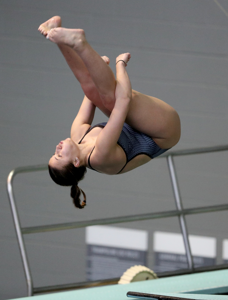 IowaÕs Jayah Mathews competes on the 3 meter springboard against Notre Dame and Illinois Saturday, January 11, 2020 at the Campus Recreation and Wellness Center.  (Brian Ray/hawkeyesports.com)
