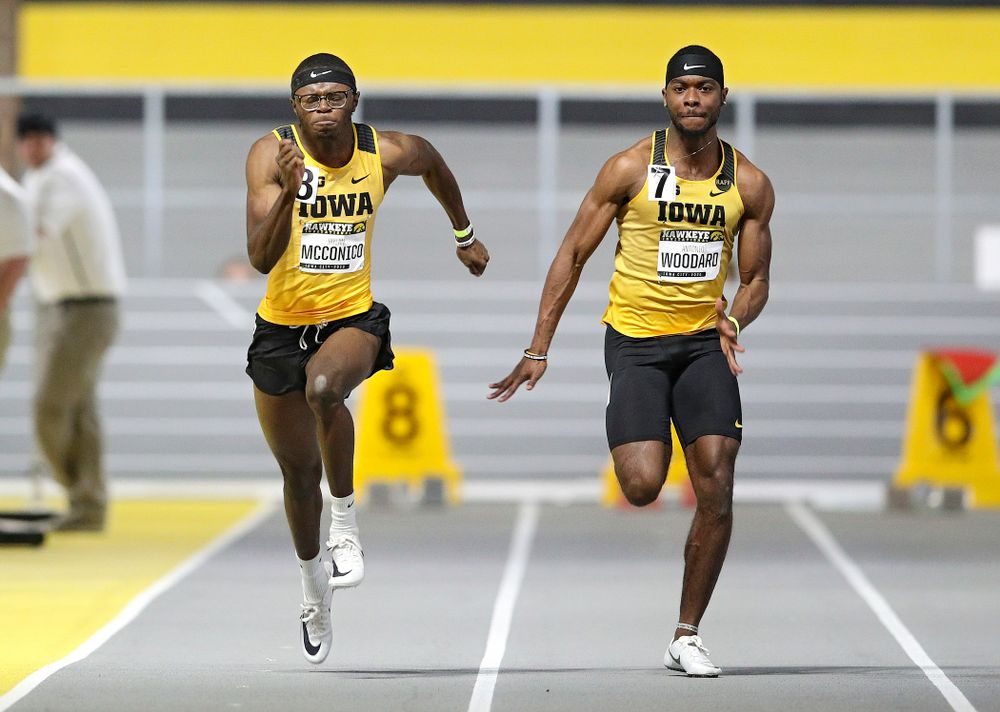 Iowa's Jaylan McConico (from left) and Antonio Woodard run the men's 60 meter dash event during the Hawkeye Invitational at the Recreation Building in Iowa City on Saturday, January 11, 2020. (Stephen Mally/hawkeyesports.com)