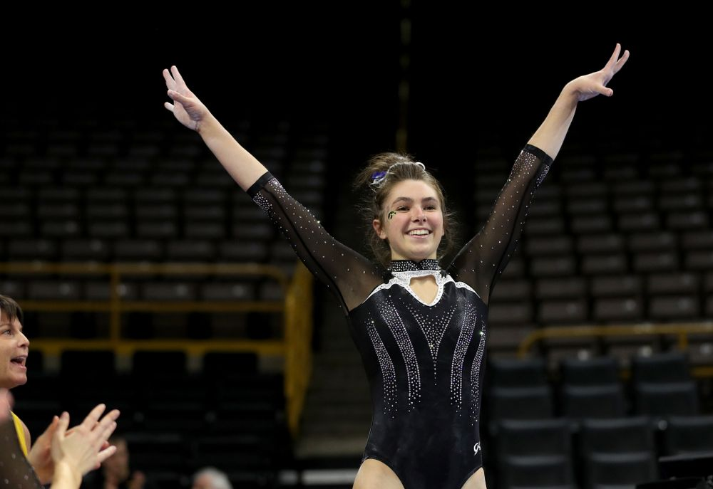 Iowa's Bridget Killian competes on the beam against Michigan State Saturday, February 1, 2020 at Carver-Hawkeye Arena. (Brian Ray/hawkeyesports.com)
