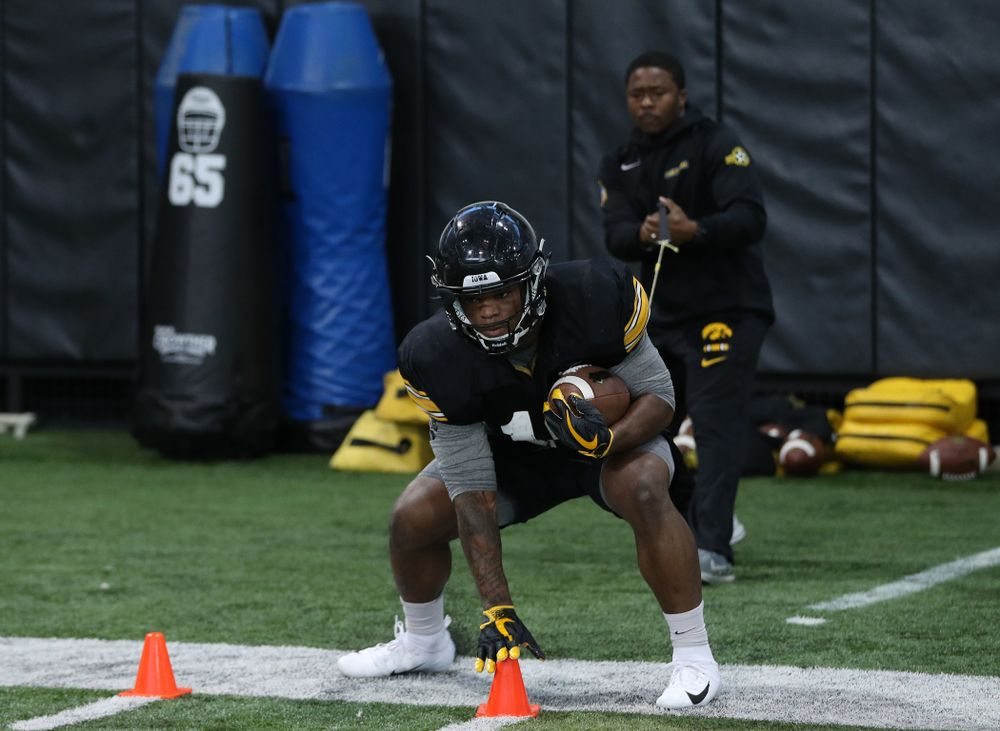 Iowa Hawkeyes running back Mekhi Sargent (10 during preparation for the 2019 Outback Bowl Monday, December 17, 2018 at the Hansen Football Performance Center. (Brian Ray/hawkeyesports.com)