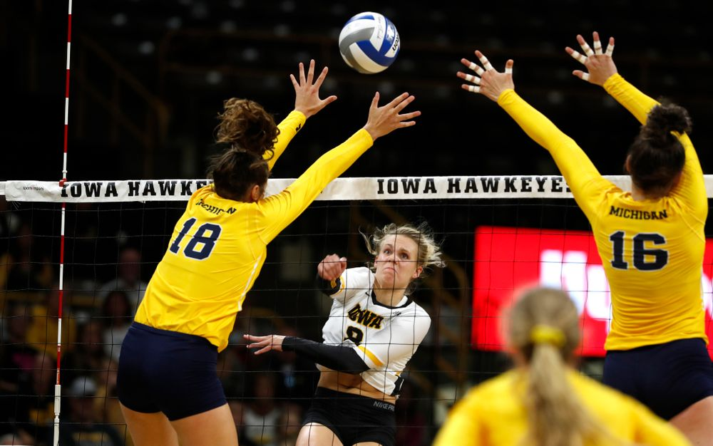Iowa Hawkeyes right side hitter Reghan Coyle (8) against the Michigan Wolverines Sunday, September 23, 2018 at Carver-Hawkeye Arena. (Brian Ray/hawkeyesports.com)