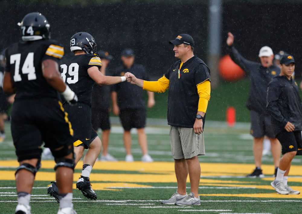 Iowa Hawkeyes offensive coordinator Brian Ferentz during camp practice No. 15  Monday, August 20, 2018 at the Hansen Football Performance Center. (Brian Ray/hawkeyesports.com)