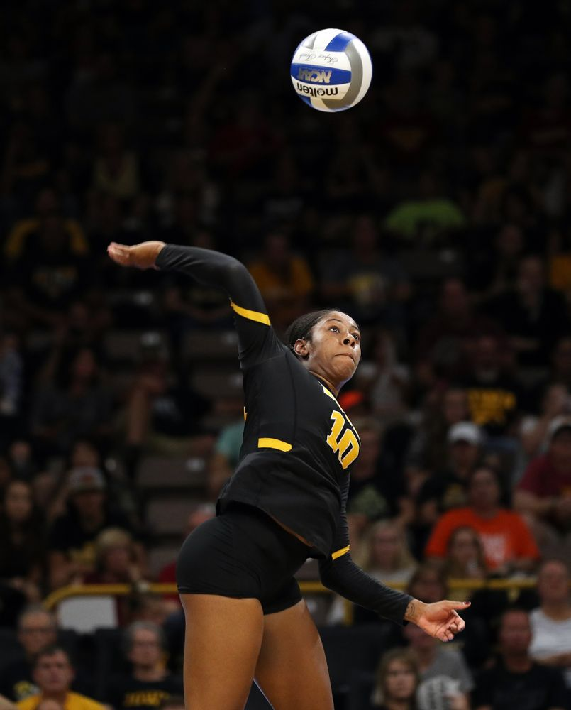 Iowa Hawkeyes outside hitter Griere Hughes (10) against the Iowa State Cyclones Saturday, September 21, 2019 at Carver-Hawkeye Arena. (Brian Ray/hawkeyesports.com)