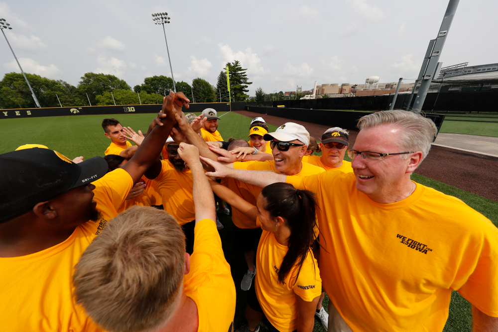The Gold Team during the Iowa Student Athlete Kickoff Kickball game  Sunday, August 19, 2018 at Duane Banks Field. (Brian Ray/hawkeyesports.com)