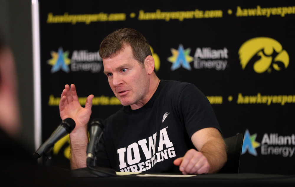 Iowa Hawkeyes head coach Tom Brands addresses the media during the team's annual media day Monday, November 5, 2018 at Carver-Hawkeye Arena. (Brian Ray/hawkeyesports.com)