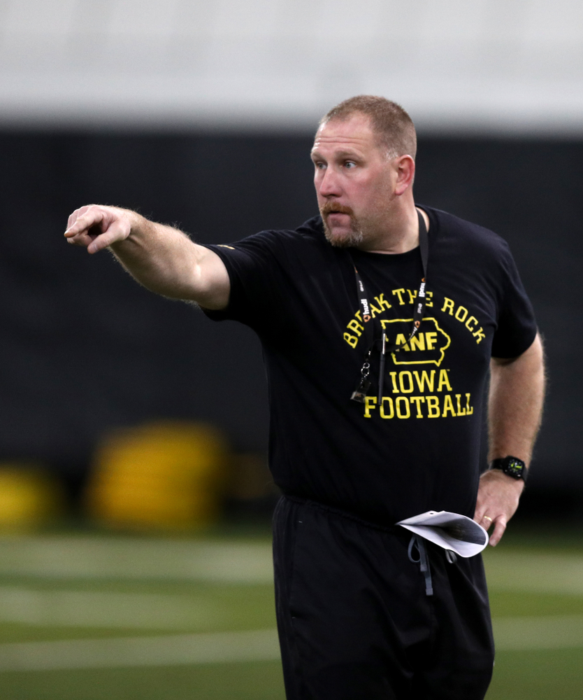 Iowa Hawkeyes offensive line coach Tim Polasek during practice Wednesday, December 12, 2018 at the Hansen Football Performance Center in preparation for the Outback Bowl game against Mississippi State. (Brian Ray/hawkeyesports.com)
