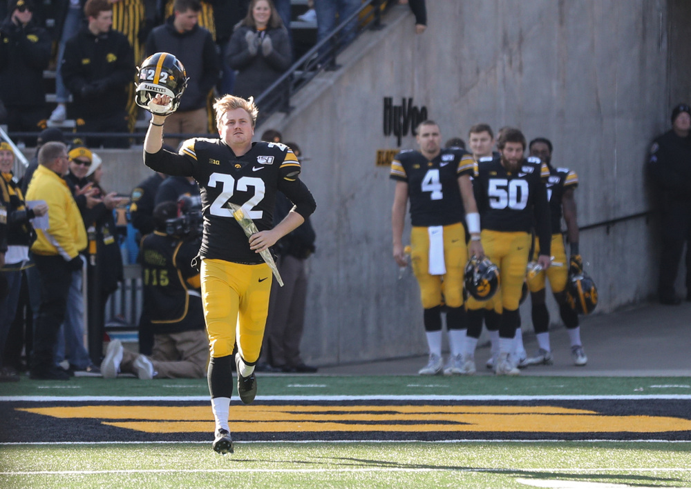 Iowa Hawkeyes punter Michael Sleep-Dalton (22) during Senior Day festivities before their game against the Illinois Fighting Illini Saturday, November 23, 2019 at Kinnick Stadium. (Brian Ray/hawkeyesports.com)
