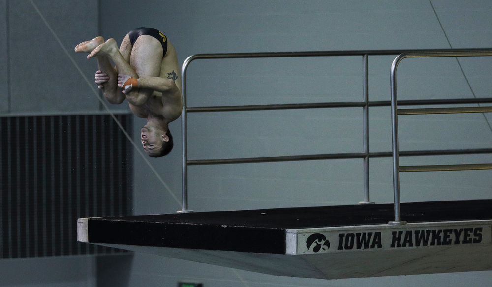 Iowa's Michael Tenney competes in the 200-yard butterfly during the third day of the Hawkeye Invitational at the Campus Recreation and Wellness Center on November 17, 2018. (Tork Mason/hawkeyesports.com)