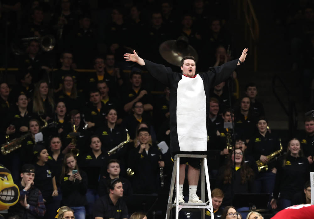 The Hawks Nest cheers against the Indiana Hoosiers Friday, February 22, 2019 at Carver-Hawkeye Arena. (Brian Ray/hawkeyesports.com)