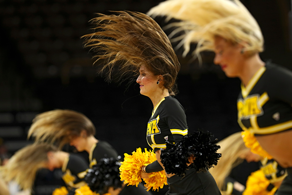 The Iowa Dance Team performs during the second quarter of their game against Winona State at Carver-Hawkeye Arena in Iowa City on Sunday, Nov 3, 2019. (Stephen Mally/hawkeyesports.com)