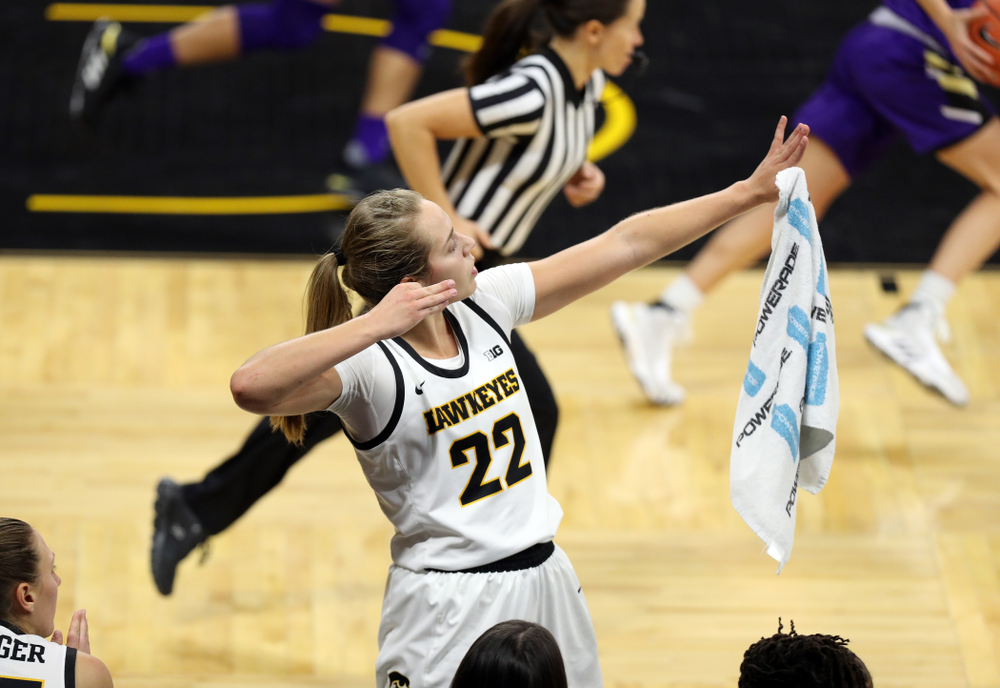 Iowa Hawkeyes guard Kathleen Doyle (22) celebrates a three point basket against North Alabama Thursday, November 14, 2019 at Carver-Hawkeye Arena. (Brian Ray/hawkeyesports.com)