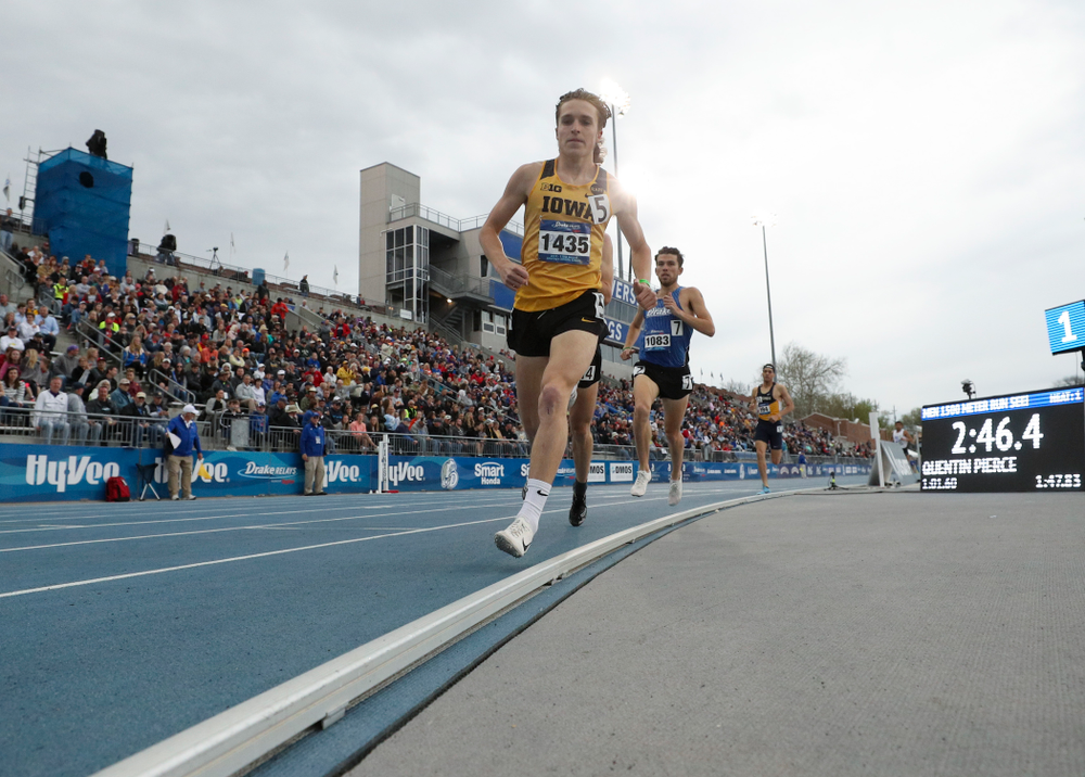 Iowa's Nathan Mylenek runs the men's 1500 meter run event during the second day of the Drake Relays at Drake Stadium in Des Moines on Friday, Apr. 26, 2019. (Stephen Mally/hawkeyesports.com)