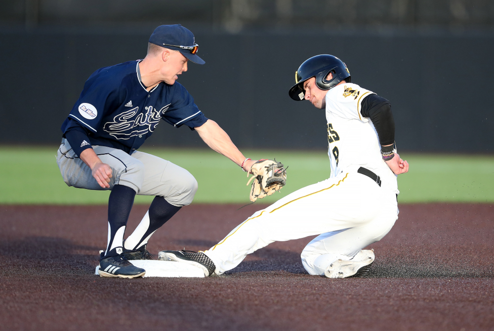 Iowa Hawkeyes outfielder Ben Norman (9) steals second base during game one against UC Irvine Friday, May 3, 2019 at Duane Banks Field. (Brian Ray/hawkeyesports.com)