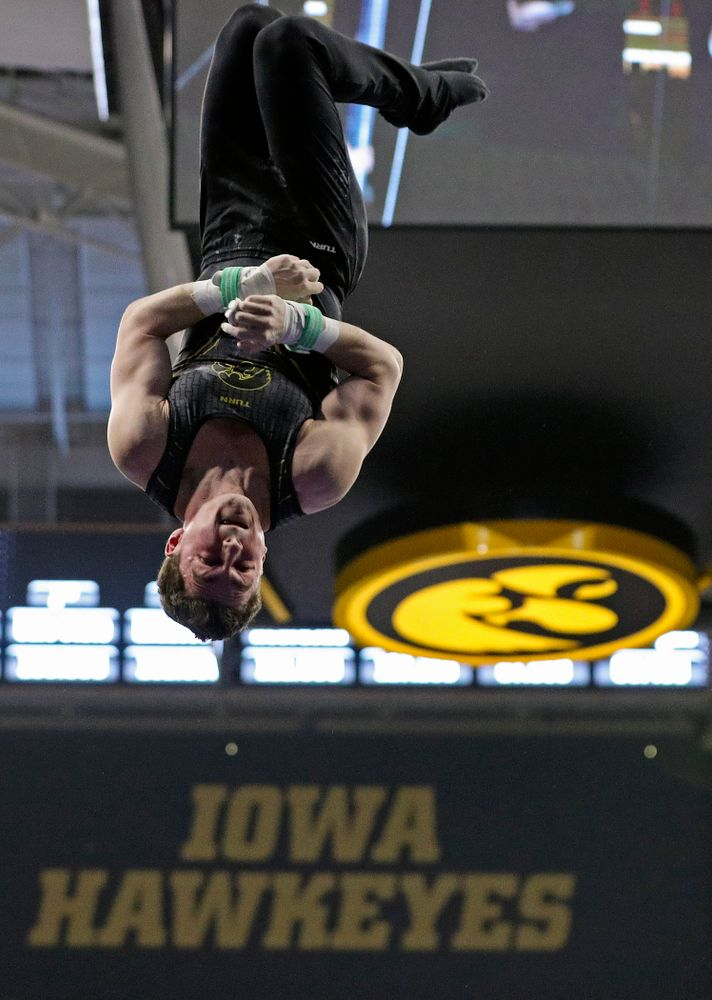 Iowa's Jake Brodarzon competes in the rings during the first day of the Big Ten Men's Gymnastics Championships at Carver-Hawkeye Arena in Iowa City on Friday, Apr. 5, 2019. (Stephen Mally/hawkeyesports.com)