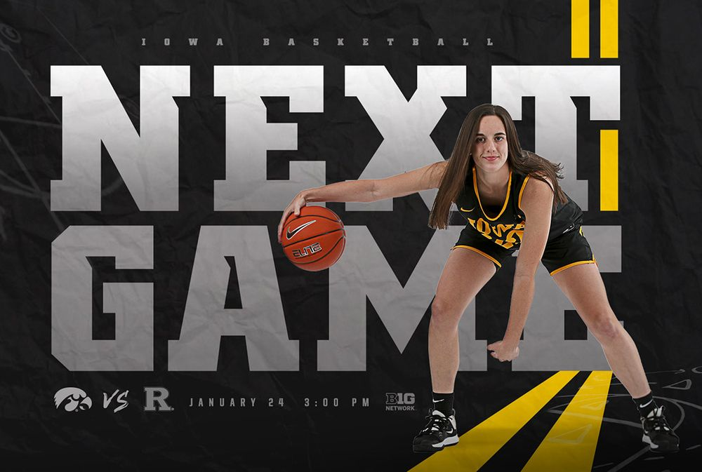 Next Game Iowa at Rutgers, January 24 at 3:30pm on Big Ten Network