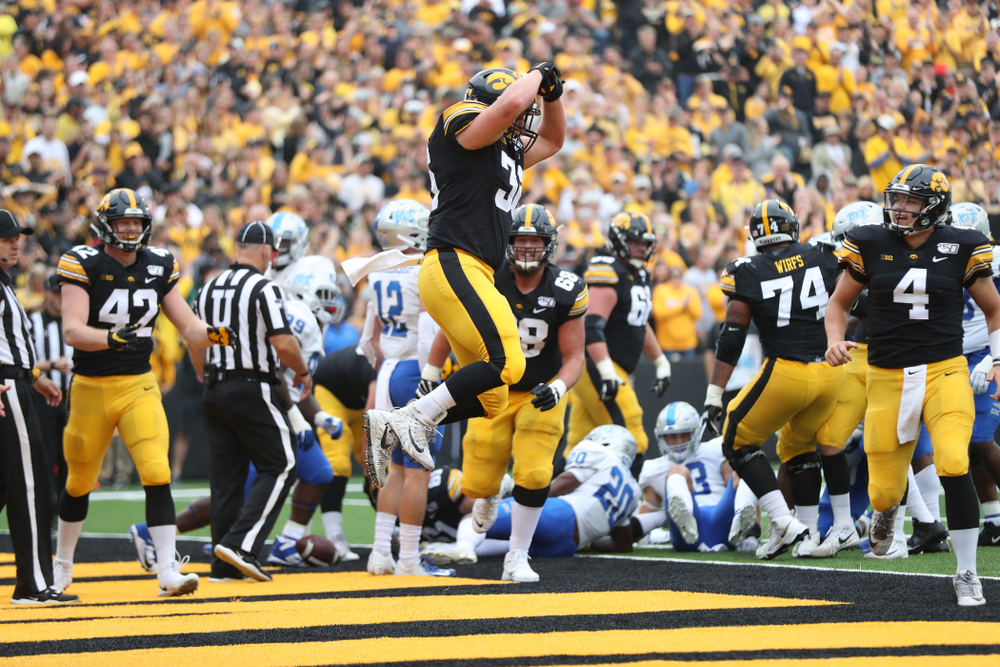 Iowa Hawkeyes fullback Brady Ross (36) celebrates a touchdown against Middle Tennessee State Saturday, September 28, 2019 at Kinnick Stadium. (Max Allen/hawkeyesports.com)