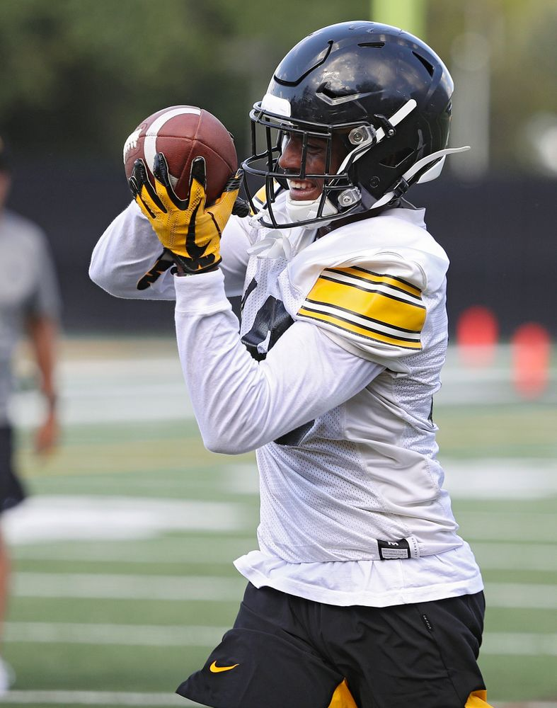 Iowa Hawkeyes defensive back Terry Roberts (16) pulls in a pass as they run a drill during Fall Camp Practice No. 13 at the Hansen Football Performance Center in Iowa City on Friday, Aug 16, 2019. (Stephen Mally/hawkeyesports.com)