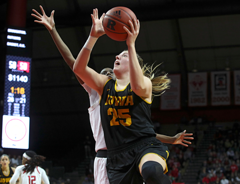 Iowa forward/center Monika Czinano (25) makes a basket during the second quarter of their game at the Rutgers Athletic Center in Piscataway, N.J. on Sunday, March 1, 2020. (Stephen Mally/hawkeyesports.com)