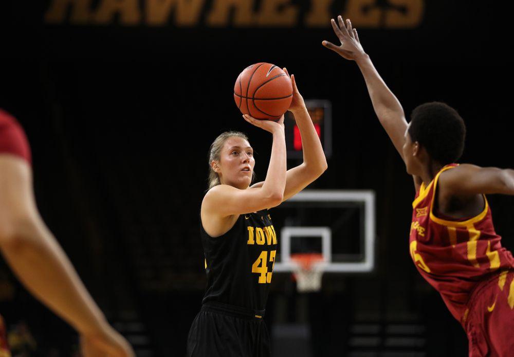 Iowa Hawkeyes forward Amanda Ollinger (43) against the Iowa State Cyclones in the Iowa Corn Cy-Hawk Series Wednesday, December 5, 2018 at Carver-Hawkeye Arena. (Brian Ray/hawkeyesports.com)