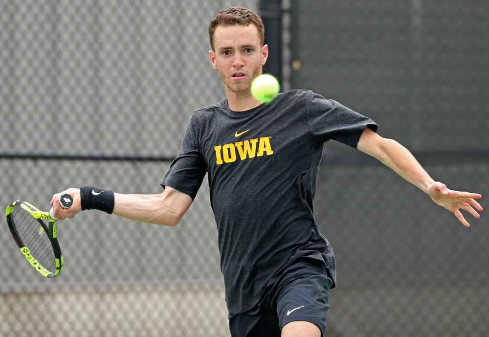 Iowa's Kareen Allaf competes during a match against Ohio State at the Hawkeye Tennis and Recreation Complex in Iowa City on Sunday, Apr. 7, 2019. (Stephen Mally/hawkeyesports.com)