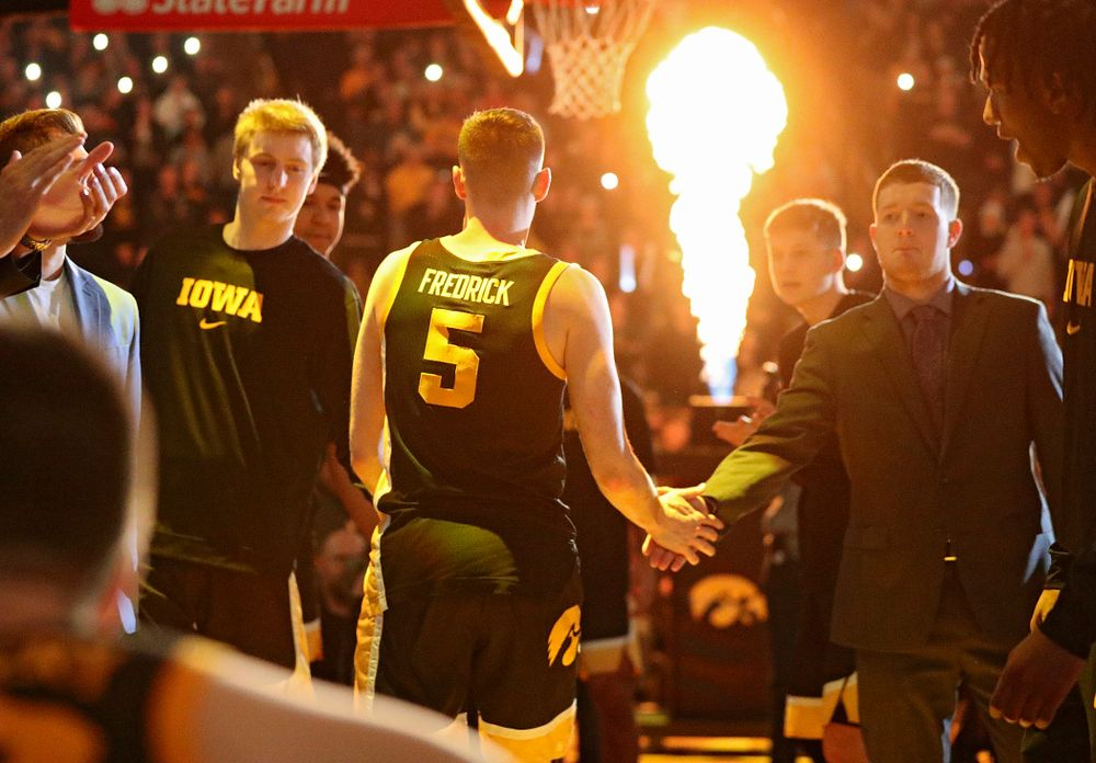 Iowa Hawkeyes guard CJ Fredrick (5) is introduced before their game at Carver-Hawkeye Arena in Iowa City on Monday, January 27, 2020. (Stephen Mally/hawkeyesports.com)