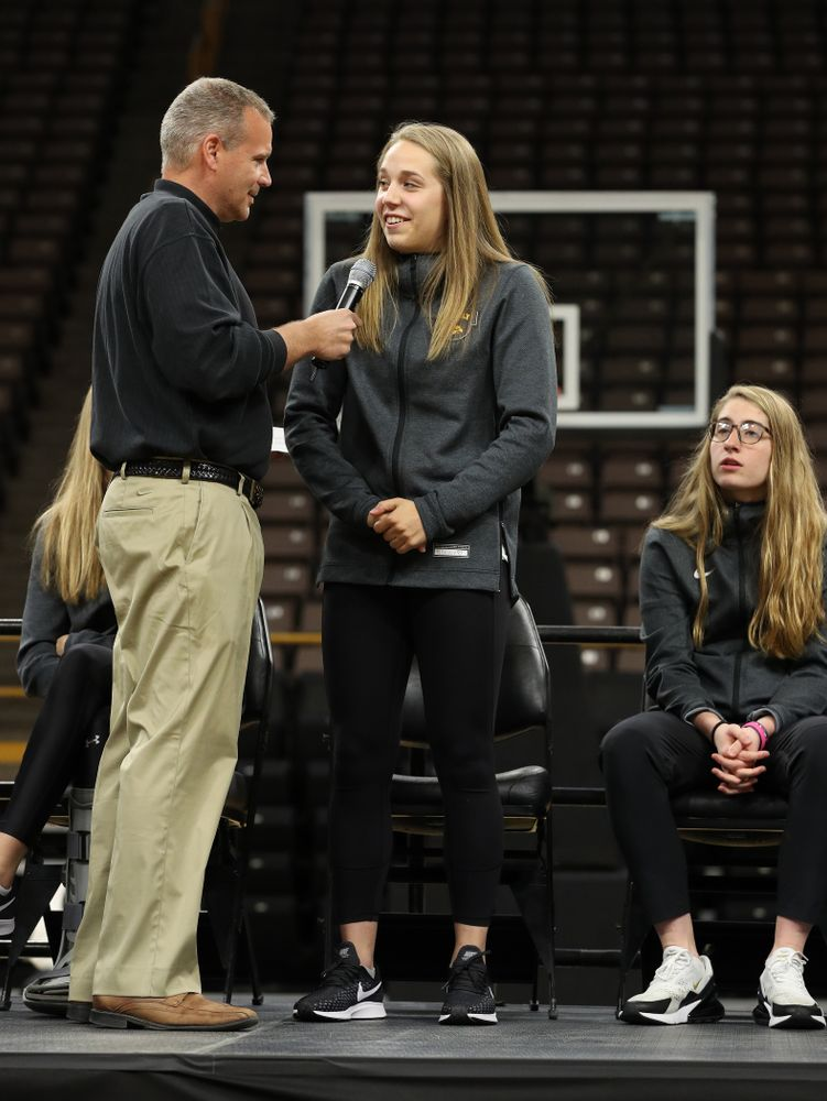 Iowa WomenÕs Basketball radio announcer Rob Books and guard Kathleen Doyle (22) during the teamÕs Celebr-Eight event Wednesday, April 24, 2019 at Carver-Hawkeye Arena. (Brian Ray/hawkeyesports.com)