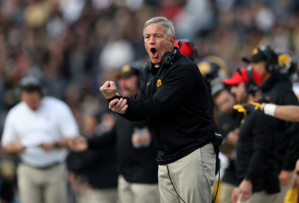 Iowa Hawkeyes head coach Kirk Ferentz against the Purdue Boilermakers Saturday, November 3, 2018 Ross Ade Stadium in West Lafayette, Ind. (Brian Ray/hawkeyesports.com)